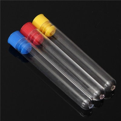 13 X Plastic Test Tubes,100mm X 16mm,Round Bottom,Complete With Push Caps