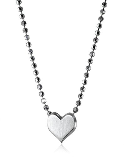 Jewels By Lux Sterling Silver Sterling Silver Womens Round Black Color Enhanced Diamond Heartbeat Heart Pendant 1//10 Cttw