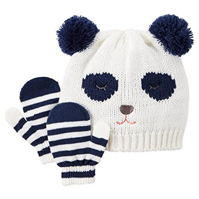 New With Tags 12-18Mths Black with Red trim Boys or Girls Winter Hat /& Mittens