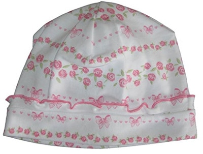 Merry Tots Baby Girls 0-3M Organic Short Sleeved Pink Heart Print Baby Vest