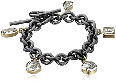 Silvertone Londons Big Ben Clock Tower Gods Love Infinity Toggle Chain Bracelet 8