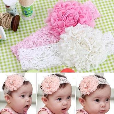 Newborn Baby Girl Kids Infant Headband Foot Flower Elastic Hair Band ZP