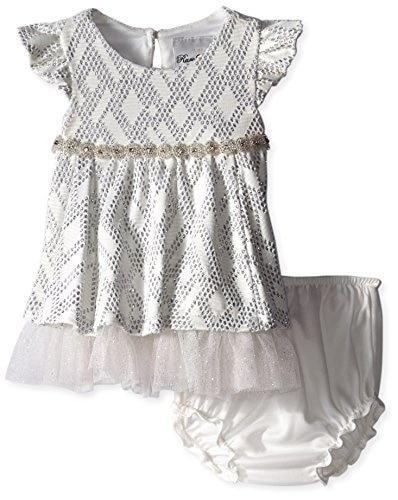 White Velour with Studs Onesie with Feet Set Jack /& Jill Baby Girl Romper Baby Footie