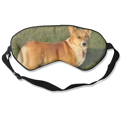 Real fox Eye Mask Sleeping Blindfold Reversible With Black Lamb Leather