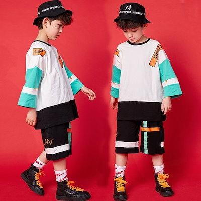 e22df54fc5d93 キッズダンス衣装 ヒップホップ HIPHOP ダンスTシャツ パンツ 子供 男の子 女の子 セットアップ ジャズダンス