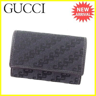 in stock a7f94 e6121 グッチグッチ Gucci キーケース 6連キーケース メンズ可 ブラック キャンバス×レザー 美品 セール 【中古】 L1630