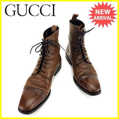 e2394125d26d グッチ GUCCI ブーツ シューズ 靴 メンズ ♯8D ショート レースアップ ブラウン×ブラック レザー 人気