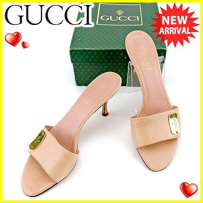 b1034f80e612 グッチ GUCCI ミュール シューズ 靴 レディース ♯35ハーフC サンダル ロゴプレート ピンク ゴールド レザー