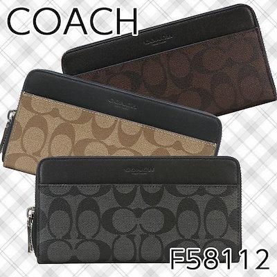 buy online 08f7a 44b85 コーチ【クーポン適用でさらにお得!】コーチ 長財布 メンズ COACH F58112 シグネチャー アウトレット