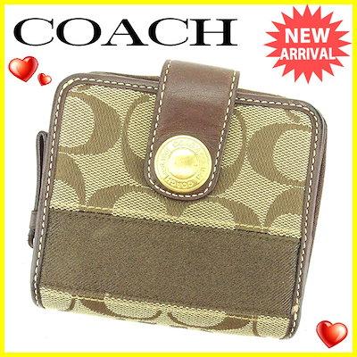 b22569826e07 コーチ COACH ラウンドファスナー財布 二つ折り財布 財布 メンズ可 シグネチャー ブラウン キャンバス×レザー