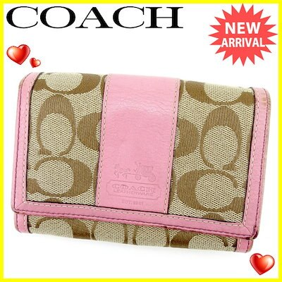 e822590c1216 コーチ COACH L字ファスナー財布 二つ折り財布 レディース シグネチャー ピンク×ブラウン キャンバス×