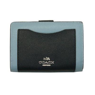 e2982b537aa7 コーチ COACH 二つ折り財布 F57322 ミッドナイト×ブルー ラグジュアリー カラーブロック シグネチャー レザー ミディアム コーナー
