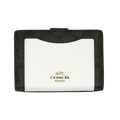 bdee7bea9768 コーチ COACH 二つ折り財布 F57824 チョーク×ブラウンブラック ラグジュアリー カラーブロック シグネチャー レザー ミディアム