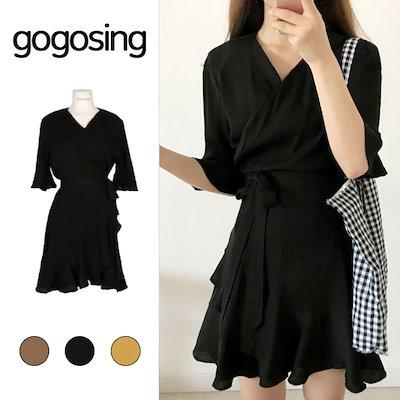 be2698f4f8d 【GOGOSING】無地ミニラップワンピース☆レディースワンピース ミニワンピース 無地 夏 韓国 ファッション