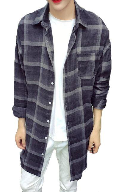 bd2bdd964fe309 シャツ メンズ ロング丈 シャツ 薄手 カジュアル シャツ ゆったり シャツ 無地 薄手 シャツ