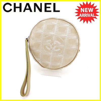 864526cc5ee8 シャネル CHANEL ポーチ 化粧ポーチ レディース メンズ 可 オールドシャネル ニュートラベルライン ベージュ シルバー ナイロン