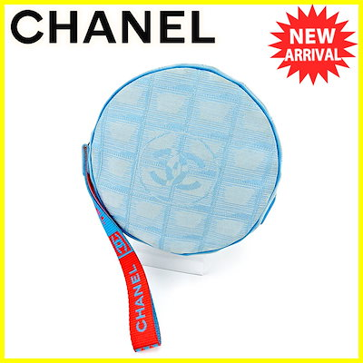 3029c6394989 シャネル CHANEL ポーチ 化粧ポーチ レディース メンズ 可 スポーツライン ニュートラベルライン ブルー×オレンジ