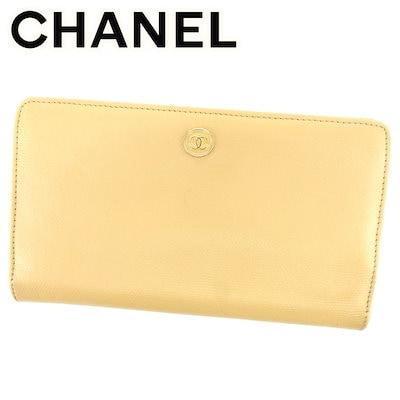 9118cbe9b309 シャネル CHANEL 長財布 財布 ファスナー付き レディース メンズ 可 オールドシャネル ココボタン ベージュ ゴールド