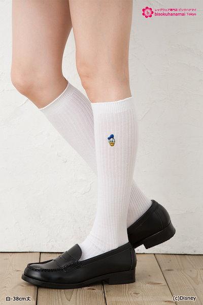 スクールソックス ドナルド ( 紺 白 38cm丈) ♪ キャラクター ワンポイント ディズニー 靴下 ハイソックス
