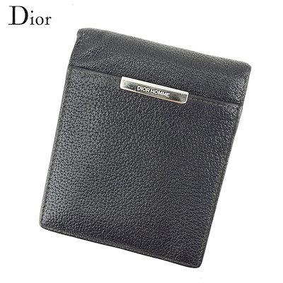size 40 899bc 5f508 ディオール オム Dior Homme 二つ折り 財布 財布 メンズ ブラック レザー 人気 良品 【中古】 T9216