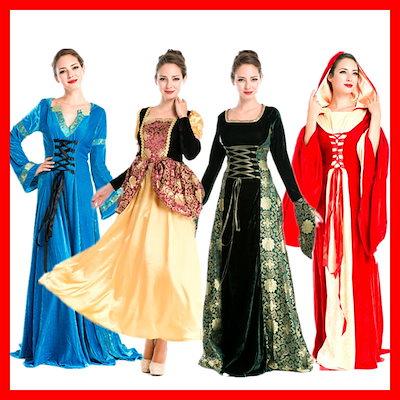 ハロウィン 中世ヨーロッパ風 女王 魔女QUEEN クィーン ロングドレス イベント パーティー 仮装 コスチューム コスプレ衣装  ハロウィンコスチュームコスプレ仮装衣装女王コスチューム 衣装 女性