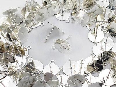 ピアス パーツ セット シルバー 白銀 10mm 平皿 100個 カン付き アクセサリー パーツ 金具 (AP0798)