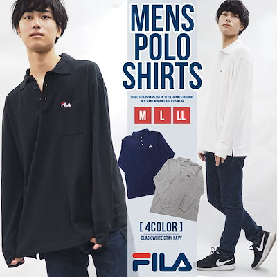 60f7e4e42ad74 フィラ FILA ポロシャツ メンズ 長袖 鹿の子 スポーツブランド ゴルフ ウェア 人気 おしゃれ 無地 刺繍 ロゴ カットソー