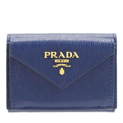 cdd02dd8f8b6 クーポン利用可能!プラダ PRADA 三つ折り財布 アウトレット 1mh021vitmov-blue
