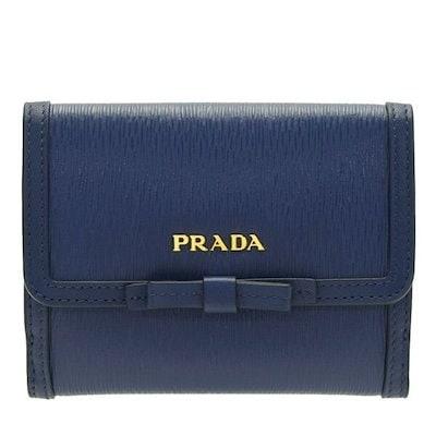 0ced2fa975f1 クーポン利用可能!プラダ PRADA 二つ折り財布 リボン アウトレット 1mh523vimofi-blue