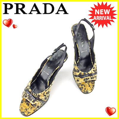b023bf349e5c プラダ PRADA サンダル シューズ 靴 レディース ♯37 スリングバック リボン ベージュ×ブラック×シルバー