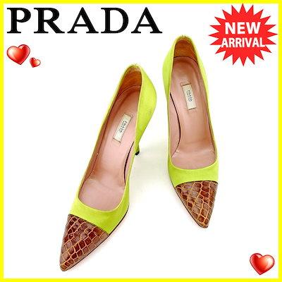 d319124ef5af プラダ PRADA パンプス シューズ 靴 レディース ♯35ハーフ ハイヒール クロコ調切替え グリーン ブラウン サテン