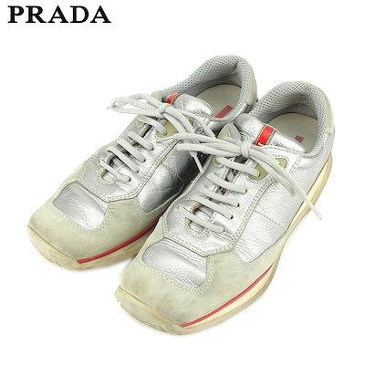 premium selection 04704 9066a プラダ PRADA スニーカー シューズ 靴 レディース #39 グレー 灰色 シルバー スエード×レザー 人気 セール ...