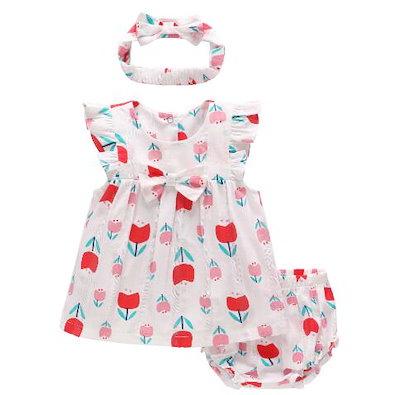 090efd4159e39 ベビー服 ロンパース かわいい 新生児 女の子 半袖 チェリー柄 綿 カバーオール ワンピース風 赤ちゃん 柔らかい おしゃれ 夏