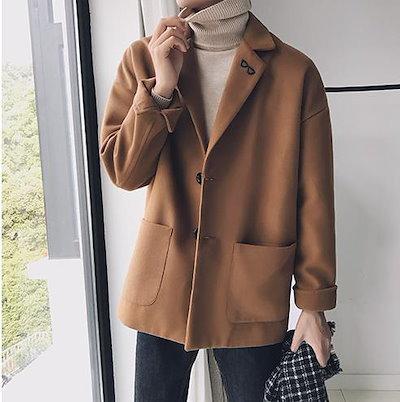 メンズファッション/冬/ショートコート/無地/ゆったり/ビジネス/チェスターコート