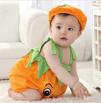 b24fb75615570f 【メール便/送料無料】ベビー コスチューム 寝相アート ハロウィン かぼちゃ おくるみ ベビー服 着ぐるみ