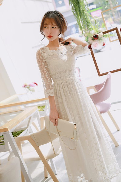 69851660728e8 二次会 花嫁 ウェディングドレス ロングドレス 演奏会 イブニングドレス パーティードレス レースワンピース 白 ホワイト