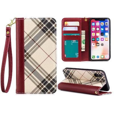 6186990e81 人気の手帳型 ケースがiPhoneチェックの財布 iPhoneX/XS/Xr/ ...