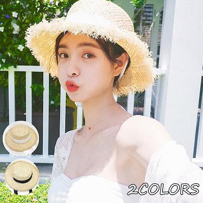 c5e0005b152e6f 帽子 レディース 麦わら帽子 UV 折りたたみ帽子 つば広 ハット 紫外線対策 UVハット 夏 ストロー