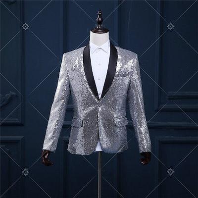 2133d40f7e8db 【送料無料】スパンコールジャケット 舞台衣装 ステージ レッド シルバー 豪華 Lサイズ Mサイズ