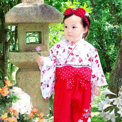 afe262884abbc  送料無料  ベビー 赤ちゃん 子供服 袴 袴風 カバーオール ロンパース ハローキティ キティ