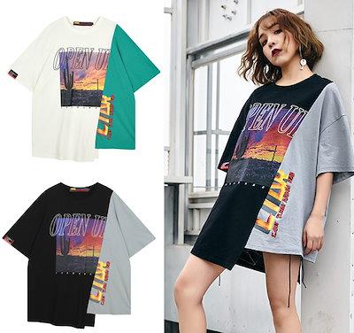 韓国ファッション レディース 半袖 Tシャツ トップス ストリート系 原宿系 バイカラー アシンメトリー 個性的