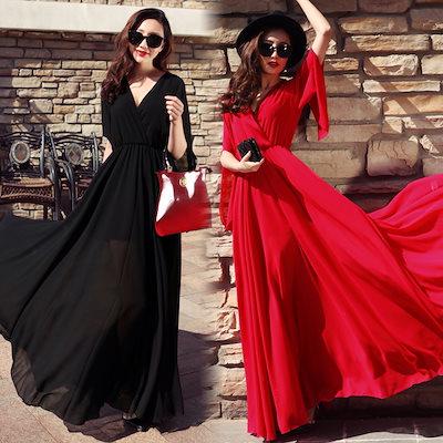 dd1e2e126bf77 韓国ファッション ワンピース ロング丈ワンピース 夏服 スカート Aタイプ マキシワンピース 人気スカート リボン セクシー
