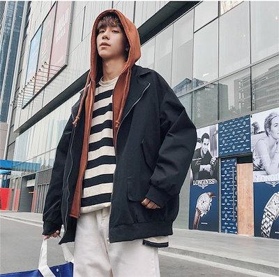 韓国ファッション 新品スニーカー大人気 ポップなファッション フートつき バーカー アウター ゆったり