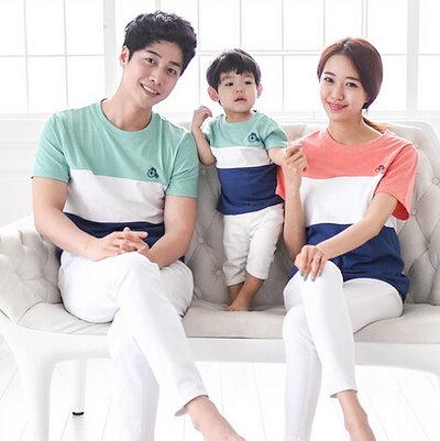 39a14e212f15a  韓国子供服 親子ペアルック 親子お揃い 半袖Tシャツ 縞模様 家族