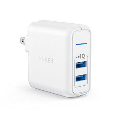Anker PowerPort 2 Elite (USB 急速充電器 24W 2ポート) 【PSE技術基準適合/PowerIQ搭載/折りたたみ式プラグ搭載/旅行に最適】 iPhone/iPad/Gal