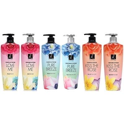 エラスティンパフュームピュアブリーズ + Perfume KISS THE ROSS + LOVE ME シャンプー3本 + コンディショナー 3本/合わせて6本