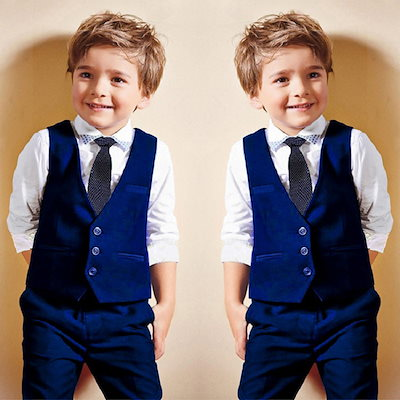 b9863d0b8f20d 4点セット!結婚式 スーツ 男の子 フォーマル スーツ 英国風 可愛い 発表会 スーツ