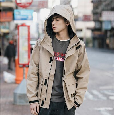 [55555SHOP]韓国ファッション 新品 大人気ポップなファッション フートつき ジャケット アウター メンズ