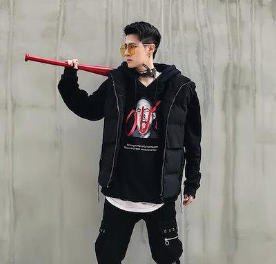 [55555SHOP]韓国ファッション メンズ ベスト 暖かい カジュアル 綿入れのチョッキ 大人気 厚手 通勤 着