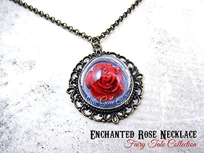 Qoo10 beauty and the beast enchanted red rose glass dome bronze beauty and the beast enchanted red rose glass dome bronze necklace 20 in fairy tale wedding mozeypictures Choice Image